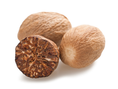 three nutmeg isolated on a white