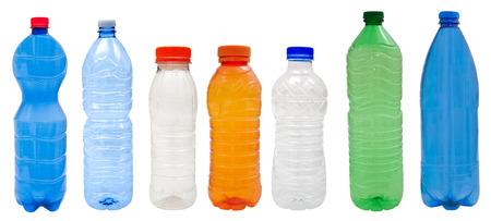 白で隔離される色とりどりのプラスチック製のボトル 写真素材