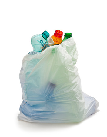 garbage disposal: garbage bag with plastic bottles,recycling concept Stock Photo
