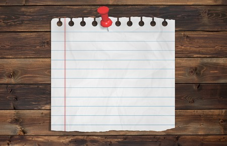 chit: Piece of paper with empty space  on wood background