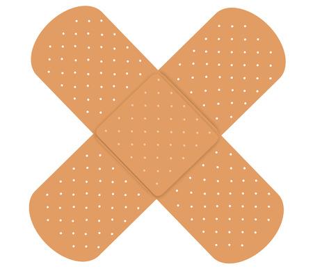 흰색 배경에 고립 된 두 접착 붕대 스톡 콘텐츠