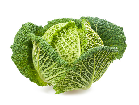 Fresh savoy cabbage isolated on white background Zdjęcie Seryjne