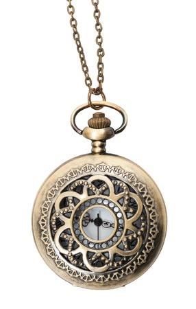 pocketwatch: pocket watch closed with chain isolated on white background