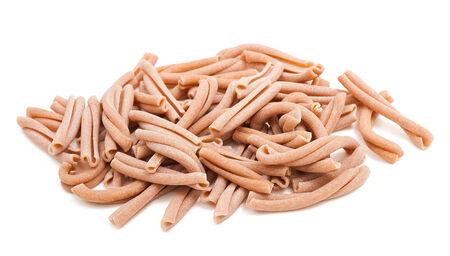 pasta isolated: whole wheat strozzapreti italian pasta isolated on white