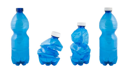 Plastic bottles isolated on white photo