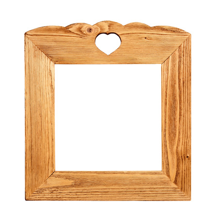 wood picture frame isolated on white background photo