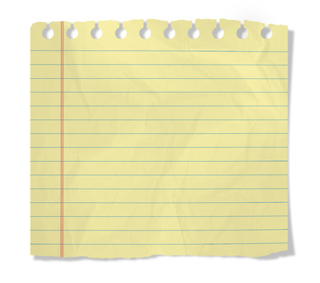 piece of yellow notebook sheet  isolated on white Banco de Imagens