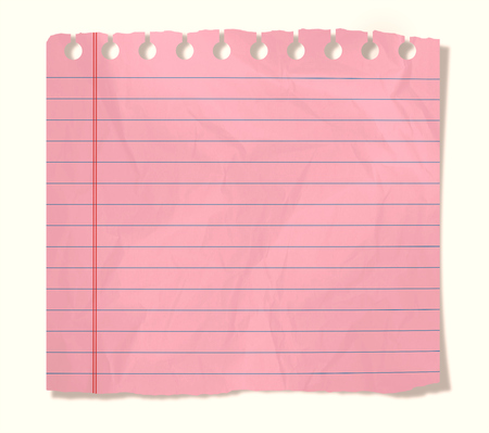 piece of pink notebook sheet  isolated on white photo