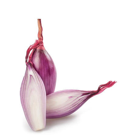 spring onions: Red onions sliced isolated on white