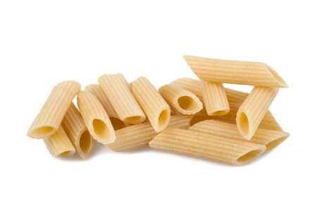 penne: Italian noodles penne isolated on white