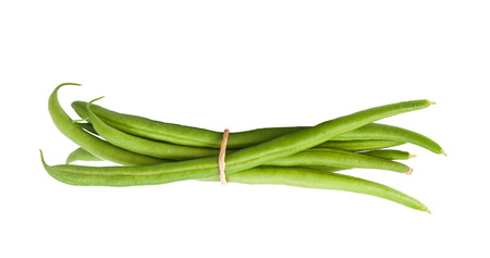 common bean: Green Beans  with leaves  isolated on white