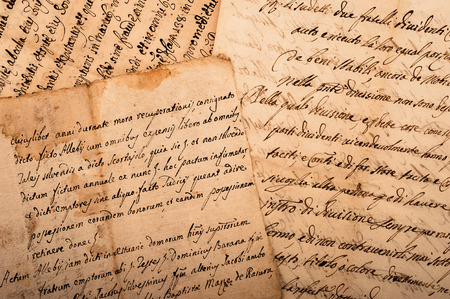 old manuscripts written on old dirty sheets Stockfoto