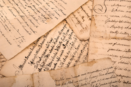 old manuscripts written on old dirty sheets Stock Photo