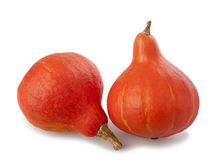 cucurbita: Red kuri squashes isolated on white background