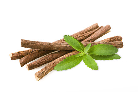 Roots licorice and stevia isolated on white