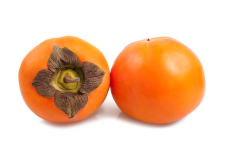 diospyros: Fresh persimmons or khaki diospyros fruit on white background