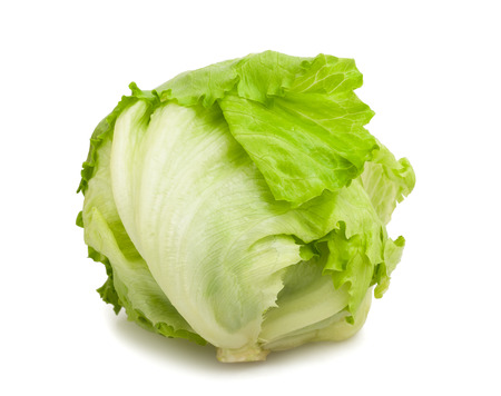 lactuca: Green Iceberg lettuce isolated on White Background Stock Photo