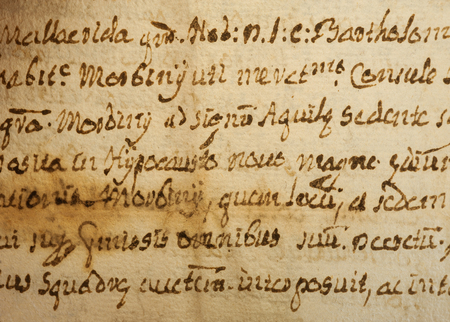 italics: old manuscript on old dirty sheet