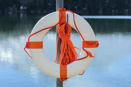 life buoy: life buoy on the norwegian fjord or on alpine lake