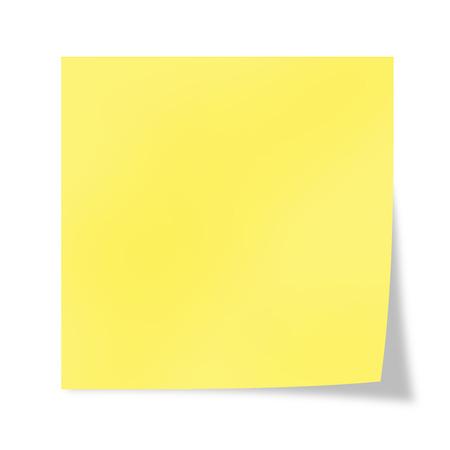 Geel blad van een herinnering op een witte achtergrond