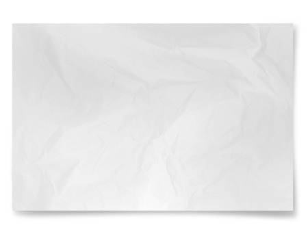 Crumpled white paper   sheet  isolated on  white background photo
