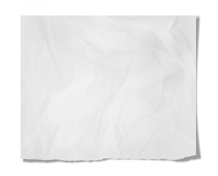 wrinkled paper: Piece of paper with empty space isolated on white