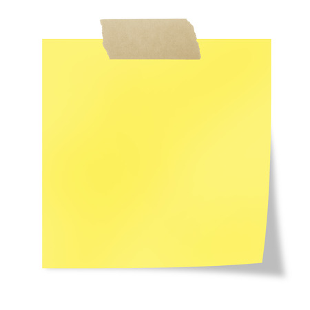 Yellow  post it with tape on a white background Foto de archivo
