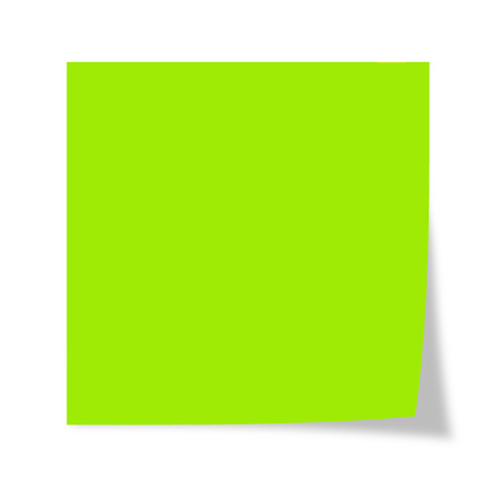 Green post it isolated on a white background Banco de Imagens