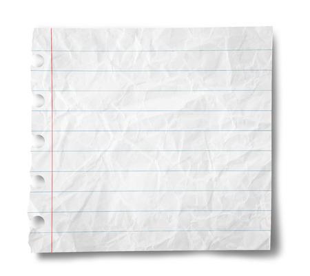 papel de notas: Hoja de papel con rayas aislados en el fondo blanco