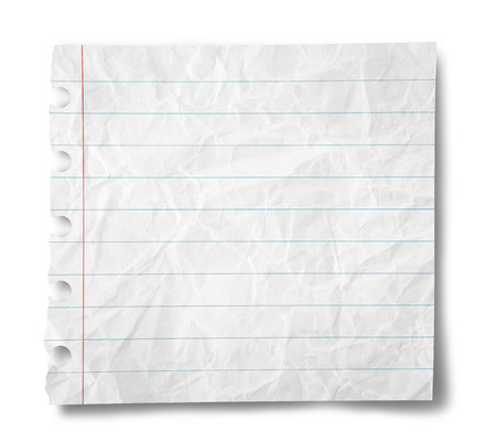Paper sheet with stripes isolated on  white background