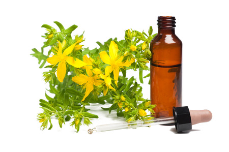 St. John's wort isolated with dropper and bottle 스톡 콘텐츠