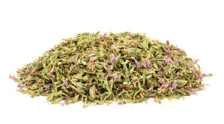 origanum: Pile of Dried Thyme with flowers  Isolated on White Background