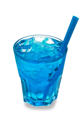 icecubes: Blue cocktail in a glass isolated on a white background Stock Photo