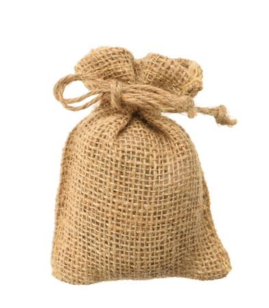 hessian: Hessian sack with ties forming over white background