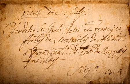 old letters: old manuscript on old dirty sheet