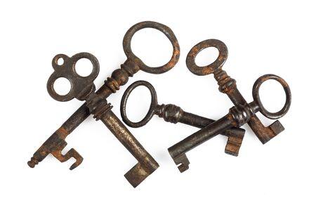 keys isolated: Old Keys group isolated on white background
