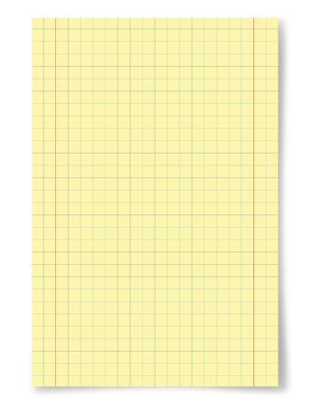 sheet of paper: Yellow squared paper sheet background