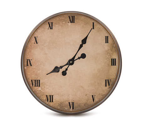 aging face: Vintage watch with roman numerals isolated