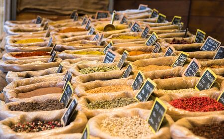 spice market: exposure of various spices on a stand Stock Photo