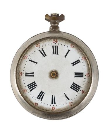 cebolla: Antiguo reloj de bolsillo roto aislados sobre fondo blanco Foto de archivo