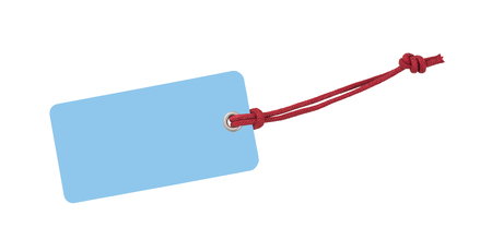 cords: Blue Etiquette with red ribbon isolated on white