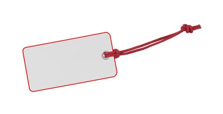 etiquette: Etiquette with red bord and ribbon isolated on white Stock Photo