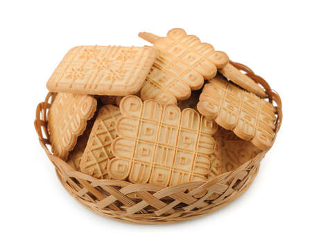 Cookies in Basket isolated on White Background
