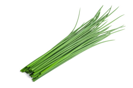 Fresh  Chives bunch  isolated on white background Stock Photo