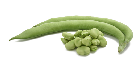 broad beans or fava beans isolated on  white background Stock Photo
