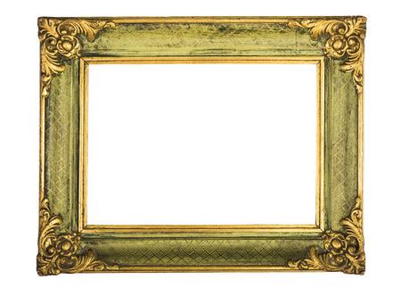 antiek frame dat op witte achtergrond wordt geïsoleerd Stockfoto