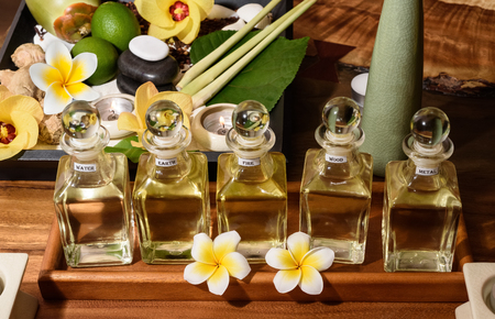 Beautiful spa kit for massage with oil Фото со стока
