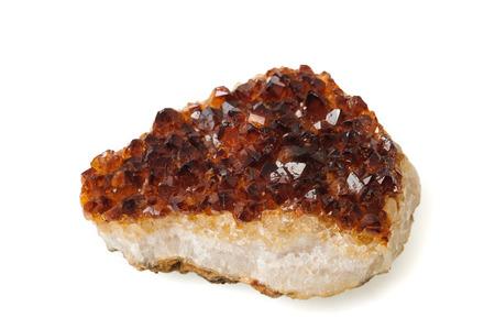 Citrine quartz, mineral stone isolated on  white background Stock Photo