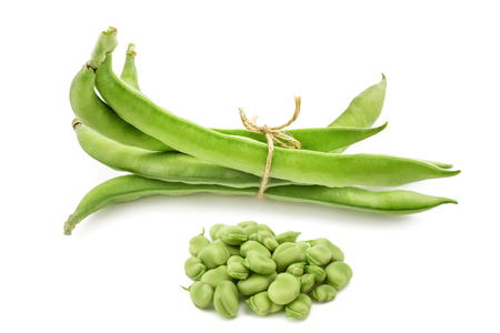 Fava beans  isolated on  white background Stock fotó