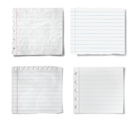 Paper sheets with stripes isolated on  white